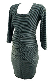 Nicole Miller Artelier Jersey Striped Ruched 3/4 Sleeve Maternity Dress (Like New - Size Large)