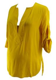 BCBG Maxazria Mustard Emmalise Maternity Silk Blouse with Adjustable Sleeve (Like New - Size Medium)