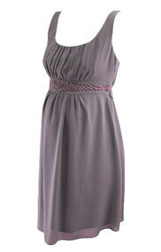 Mauve Special Occasion A Pea in the Pod Maternity Dress with Beaded Detail (Like New - Size Small)