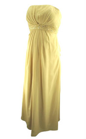 *New* JJs House Champagne Empire Sweetheart Floor Length Special Occasion Chiffon Maternity Bridesmaid Dress with Ruffle Beading (Size 6)