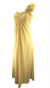 *New* JJs House Champagne Empire One Shoulder Floor Length Special Occasion Chiffon Maternity Dress with Ruffle Flowers (Size 6)