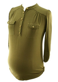 Moss Green Jules & Jim Maternity Military Top with 3/4 Sleeves (Like New - Size Small)