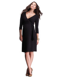 Black Isabella Oliver Maternity Wrap Maternity Dress (Like New - Size 0/ Size 0-2 USA)