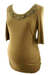 Deep Taupe A Pea in the Pod Maternity Embellished 1/4 Sleeve Maternity Top (Gently Used - Size X-Small)
