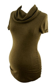 DarkBrown Tint of Grey Cowl Neck Cashmere Short Sleeve Maternity Sweater by A Pea in the Pod Maternity(Gently Used - Size Small)
