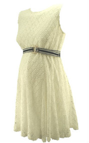 White Taylor for A Pea in the Pod Maternity Collection Belted Patterned Maternity Dress (Gently Used - Size Small)
