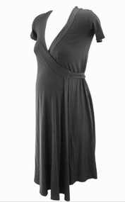 Black Isabella Oliver Maternity Short Sleeve Wrap Maternity Dress (Gently Used - Size 0/ USA 0-2)