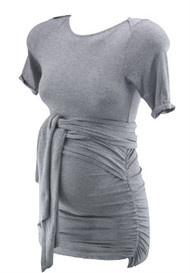 Gray Isabella Oliver Maternity Wrap Maternity Short Sleeve Top (Like New - Size 0 / USA 0-2)