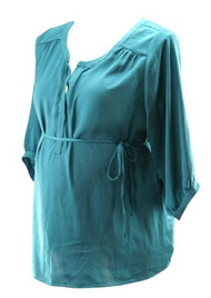 Dark Turquoise A Pea in the Pod Maternity Blouse (Gently Used - Size Large)