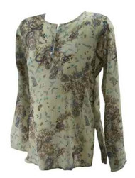 Sheer Beige Floral Pattern Motherhood Maternity Blouse (Like New - Size Medium)