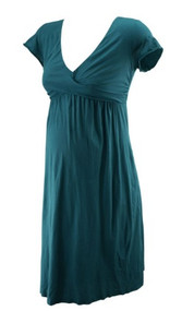 Muted Turquoise Velvet for A Pea in the Pod Collection Maternity Dress (Like New - Size Small)