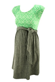 *New* Green and Denim Maternal America Maternity Scoop Neck Front Tie Dress (Size- Small)