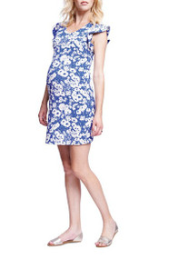 *New* Maternal America Blue Abstract Daisy Maternity Flutter Dress (Size Small)
