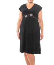 *New* Black, Floral Belted Bellyssima Maternity Dress (Size X-Small)