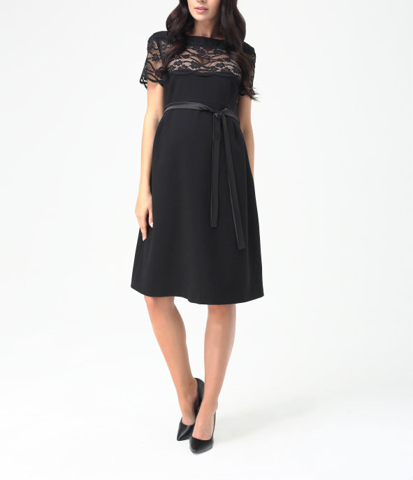 fa191a4af5ddd ... *New* Black 9fashion Maternity Lace Scallop Sleeve Maternity Dress  (Small). Image 1