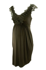 *New* Black Olian Maternity Floral Lace V-Neck Overlap Dress (Size Small)