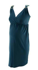 *New* Ocean Blue JW Japanese Weekend V-Neck Pearl Embellished Maternity Dress (Size Small)