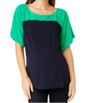 Green & Navy Rosie Pope Maternity Julie Maternity Blouse Top (Size Large - Like New)