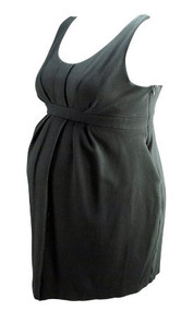 Black A Pea in the Pod Maternity Sleeveless Pleated Blouse (Second Hand- Size Large)