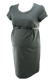 Black and Gray A Pea in the Pod Maternity Belted Checkered Maternity Dress (Secondhand- Size Large)