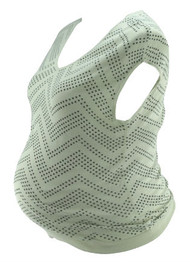White Cream A Pea in the Pod Knit Diamond Dotted Chevron Pattern Maternity Tee (Gently Used - Size Large)