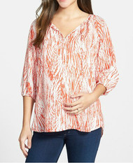*New* Red Abstract Print Loyal Hana Maternity Megan Nursing Top