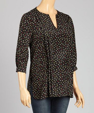 *New*  Black Coffee Bean Polka Dot Print Loyal Hana Maternity Ali Nursing Blouse