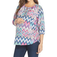 *New* Pinks Mixed Chevron 'Megan' Maternity Nursing Blouse Print by Loyal Hana