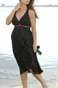 *New* Nicole Michelle Maternity Bronze Trimmed Leopard Burnout Maternity Dress (Size- X-Large)