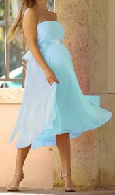 *New* Baby Blue Nicole Michelle Maternity Chiffon Dress