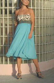 *New* Zebra/Teal Nicole Michelle Maternity Empire Waist Strapless American Pie Audrey Maternity Dress (Size- X-Large)