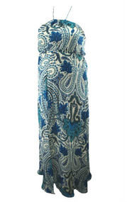 Floral Blue Madison Marcus Maternity for A Pea in the Pod Maternity Collection Sleeveless Beaded Detail Maternity Maxi Dress (Like New - Size Large)