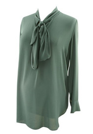 Slate Ann Taylor Loft Maternity Tunic Blouse with Neck Tie (Like New - Size Small)