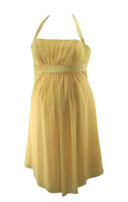 Champagne Alfred Angelo Halter Strap Chiffon Cocktail Bridesmaid Maternity Special Occasion Maternity Dress (Like New - Size 12)