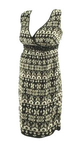 Silk Black, White and Gray Embellished Special Occasion Mimi Maternity Dress (Like New - Size Small)