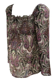Purple Mixed Paisley Print Style... Maternity Cinched Long Sleeve Maternity Top (Gently Used - Size Small)
