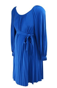 Deep Cerulean Blue Donna Morgan for A Pea in the Pod Maternity Collection Pleated Dress (Like New - Size Medium)