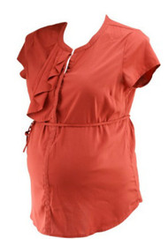 Rust Orange A Pea in the Pod Maternity 1/2 Pleated Ruffled Collar Blouse (Gently Used - Size Large)