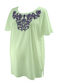 White A Pea in the Pod Maternity Short Sleeve Embroidered Beaded Top (Gently Used - Size Large)