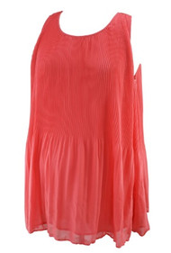 Salmon Daniel Rainn for A Pea in the Pod Sleeveless Pleated Maternity Blouse (Gently Used - Size Large)