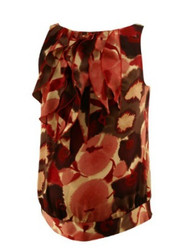 Ruby Rose Tie Dye Pattern Ann Taylor Loft Maternity Sleeveless Ruffle Maternity Blouse (Like New - Size Small)