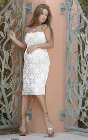 Ivory Lace Nicole Michelle Maternity Strapless Dress (Like New - X-large)