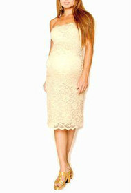 *New* Golden Cream Lace Nicole Michelle Maternity Strapless Dress