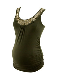 Black A Pea in the Pod Maternity Embellished Maternity Tank Top (Gently Used - Size Medium)