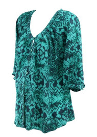 Teal Liquid New York for A Pea in the Pod Maternity Collection Aztec Print 3/4 Sleeve Maternity Top (Gently Used - Size Medium)