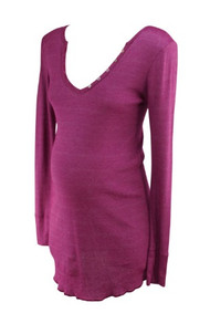 Metallic Magenta Michael Stars Maternity Button Detailed Long Sleeve Maternity Top (Gently Used - Size Medium)