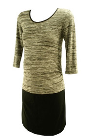 Black and Gray Knit Mamalicious Maternity Color Block Maternity  Dress (Like New - Size Large)