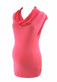 Punch Pink Ripe Maternity Cowl Neck Maternity Sleeveless Tunic (Like New - Size Medium)