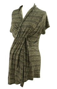 Heathered Gray Nom Maternity Short Sleeve Wrap Maternity Cardigan (Gently Used - Size Large)