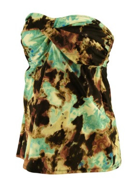 f99e4a7bb8 ... Teal Liz Lange Maternity for Target Watercolor Strapless Maternity  Tankini Top (Gently Used - Size Large). Image 1